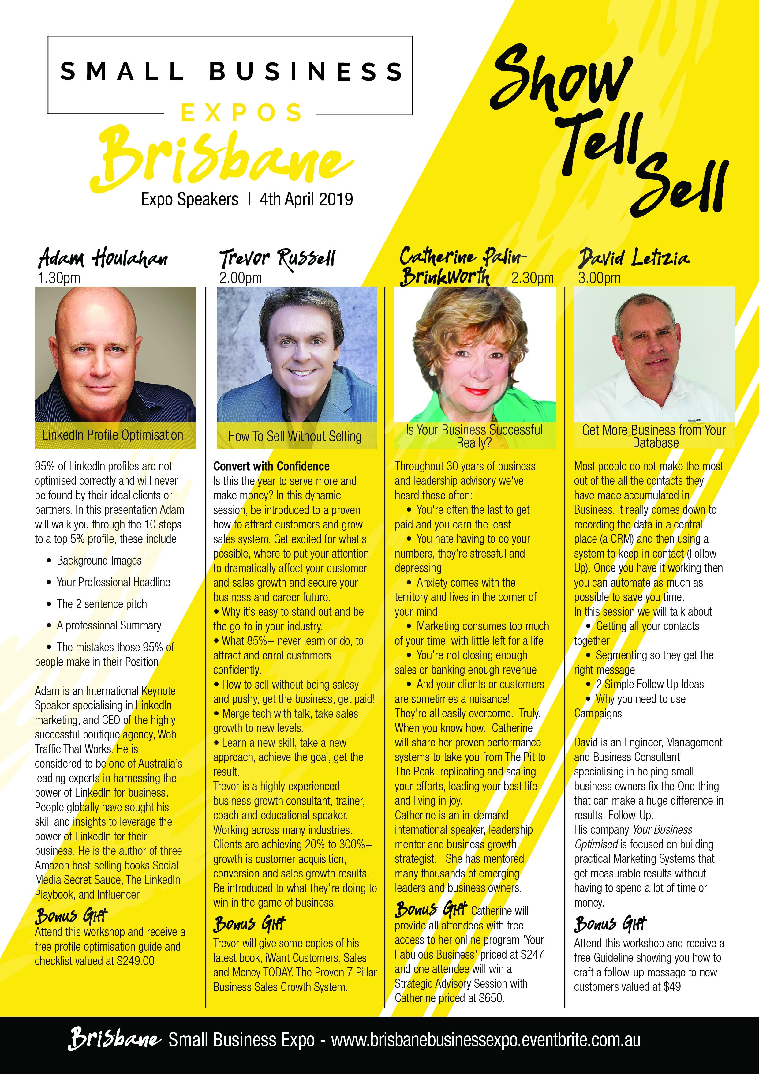 Business Expos | Brisbane | Gold Coast | Small Business Expos | Brisbane Speaker Flyer Final