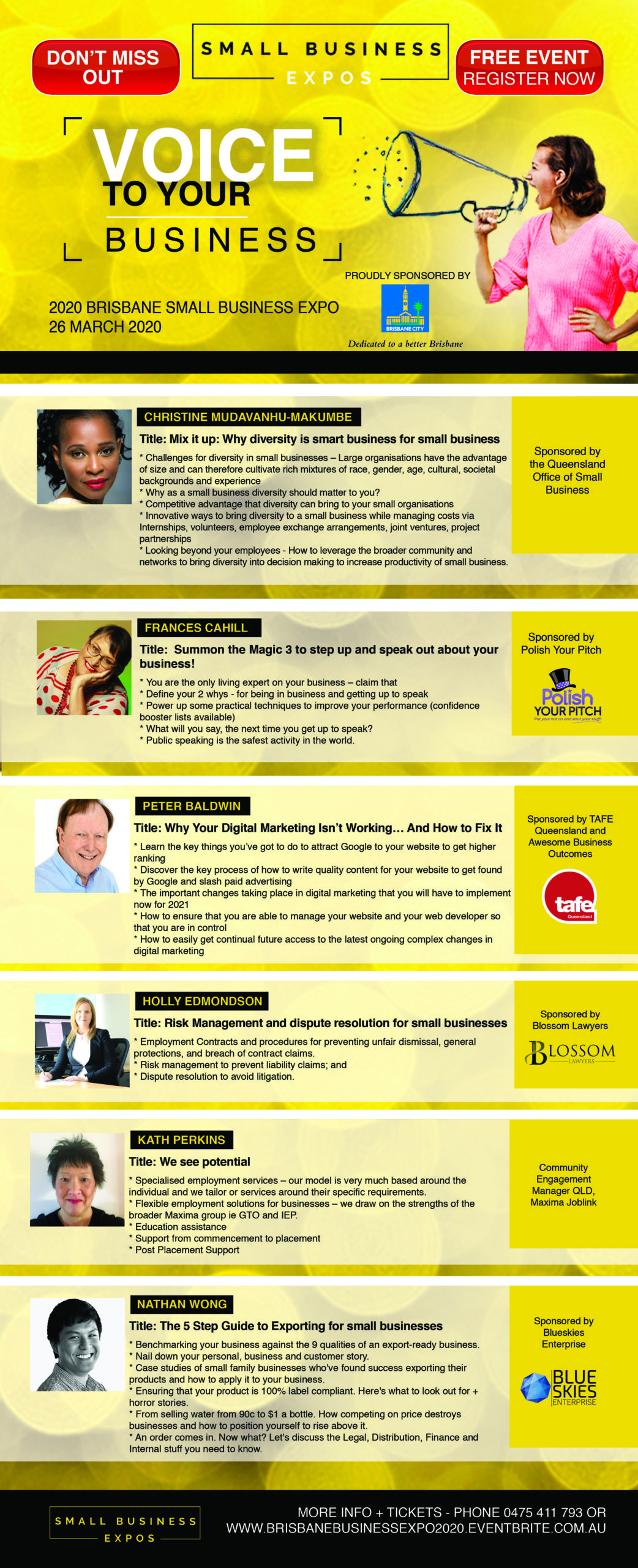 Business Expos | Brisbane | Gold Coast | Small Business Expos | Speaker List V2